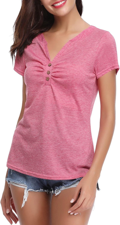 Abollria Damen T-Shirt Kurzarm V Ausschnitt Sommershirt mit Knopf Stretch Oberteil Weiches Dekollet/é Top