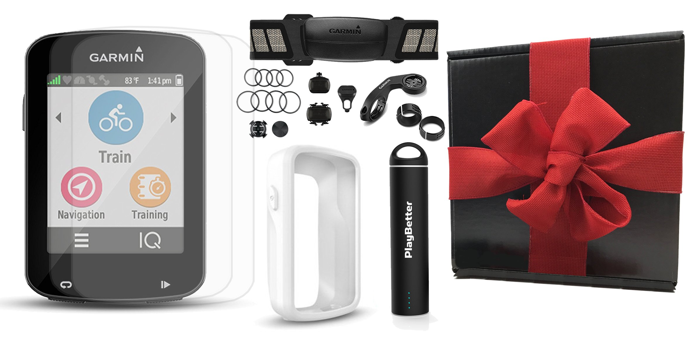 Garmin Edge 820 Gift Box Bundle with PlayBetter Silicone Protective Case, HD Glass Screen Protectors (2-Pack), Portable Charger, Bike Mounts | GPS Cycle Computer (White Case, Bundle w/ HRM & Sensors)