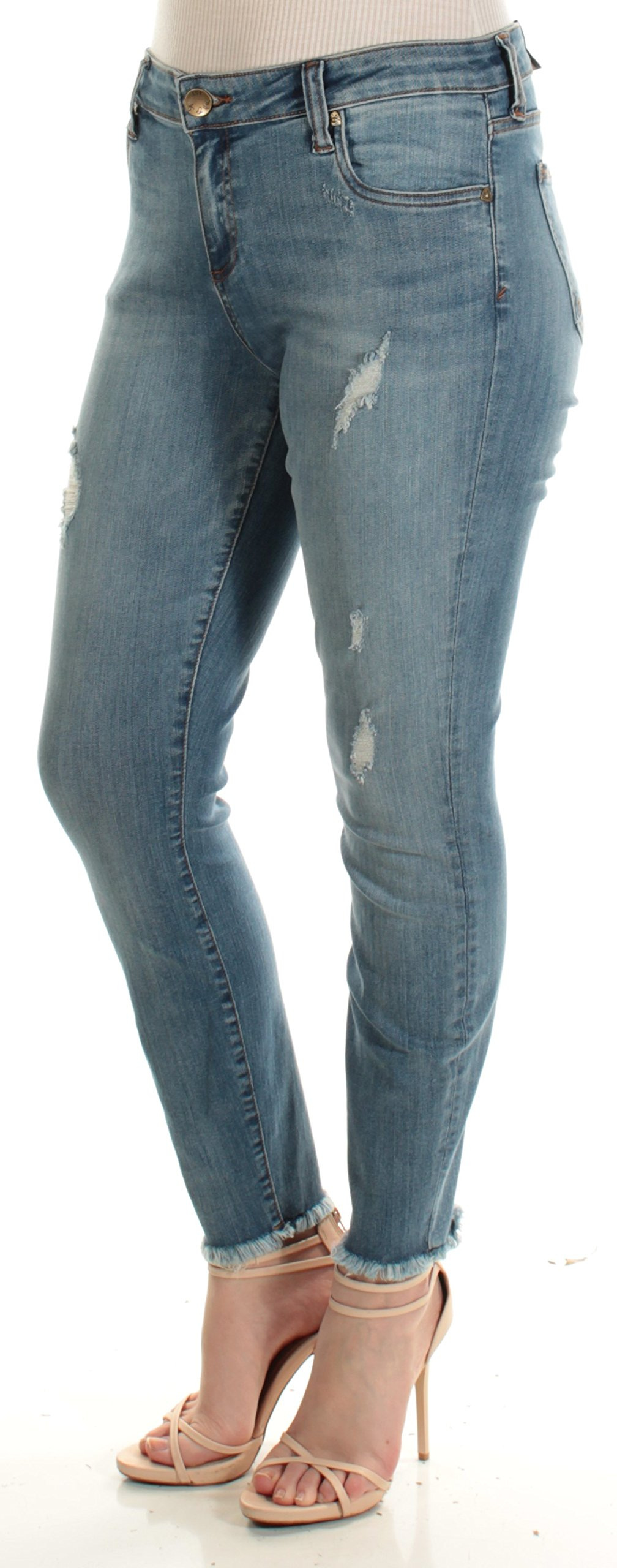 KUT from the Kloth Womens Connie Denim Distressed Skinny Jeans Blue 10