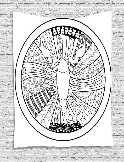 ABAKUHAUS Escorpión del Zodiaco Tapiz de Pared, Arte del Tatuaje ...