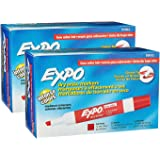 Expo Dry Erase Low Odor Chisel Tip, Red 2 Packs of 12 Total of 24 Markers
