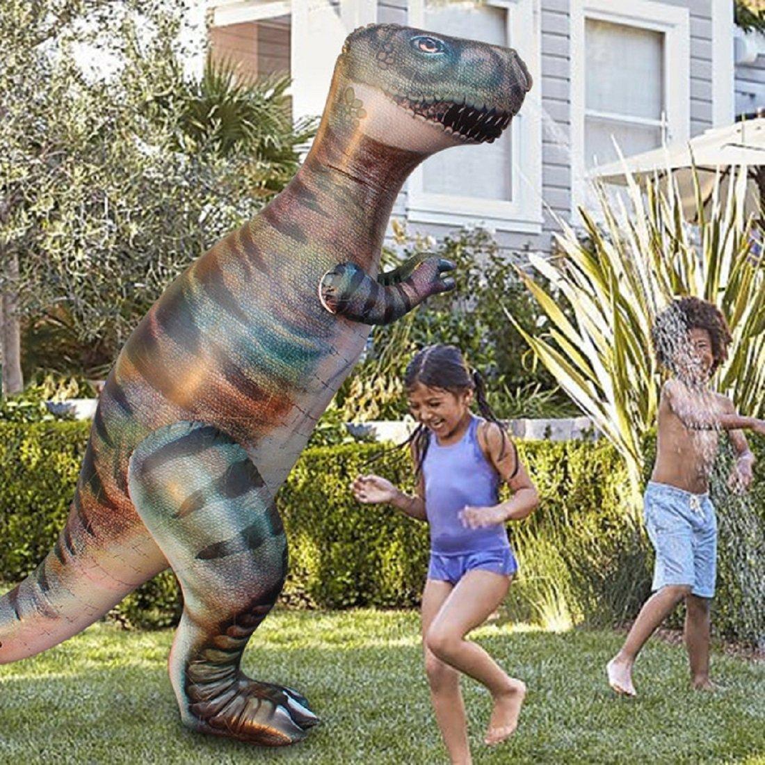 zhenyu 1.8M Dino Grass Water Sprayer Sprinkler Kids Inflatable Pool Toys Outdoor Sports Ginormous T-Rex Dinosaur Yard Sprinkler Splash