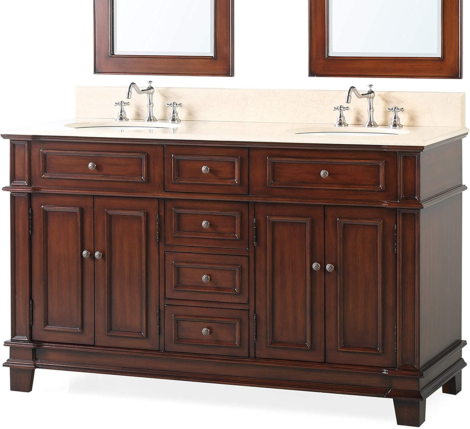 60 Benton Collection Double Sink Sanford Bathroom Sink Vanity Cabinet Model CF-3048M-60