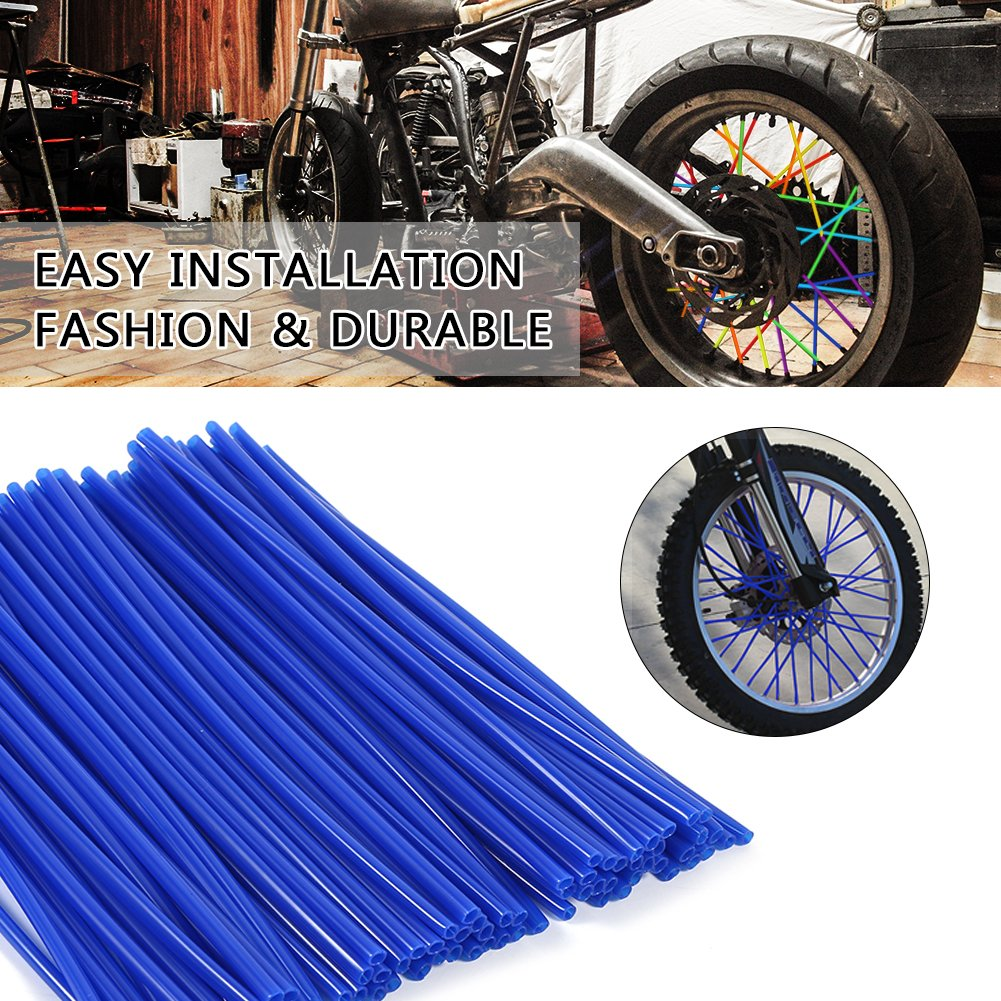 36 pcs Wheel Rim Spoke Skins Covers Keenso Motocross Rims Skins Off Road Guard Wraps Kit Motorcycle Covers Wrap Decor Protector For Universal Motocross Dirt Bike Sky Blue
