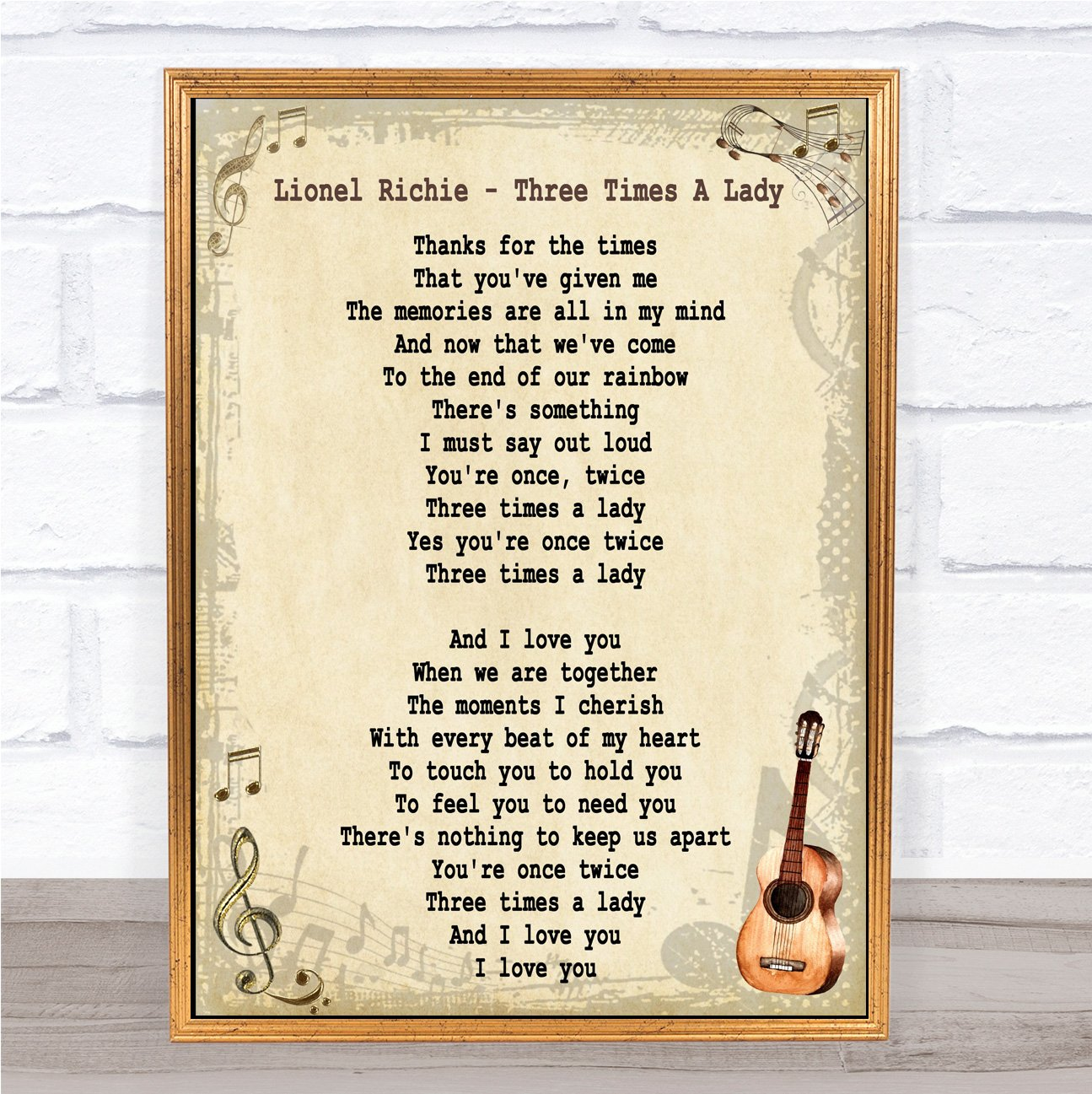 Lionel Richie Three Times A Lady Song Lyric Vintage Quote Wall Art Quote Gift Present Party Animal Print