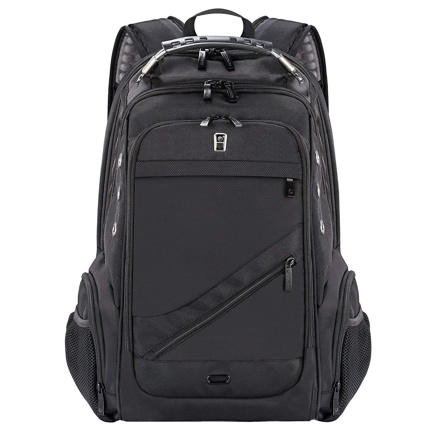 Laptop Backpack, Business Anti-Theft Travel Backpack with USB Charging Headphone Port, Water Resistant Large Compartment College School Computer Bag (Black)