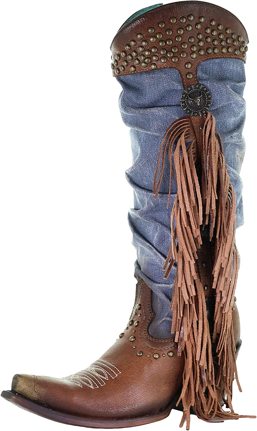 CORRAL C3550 Brown and Denim Slouchy Fringe Concho Studded Boots