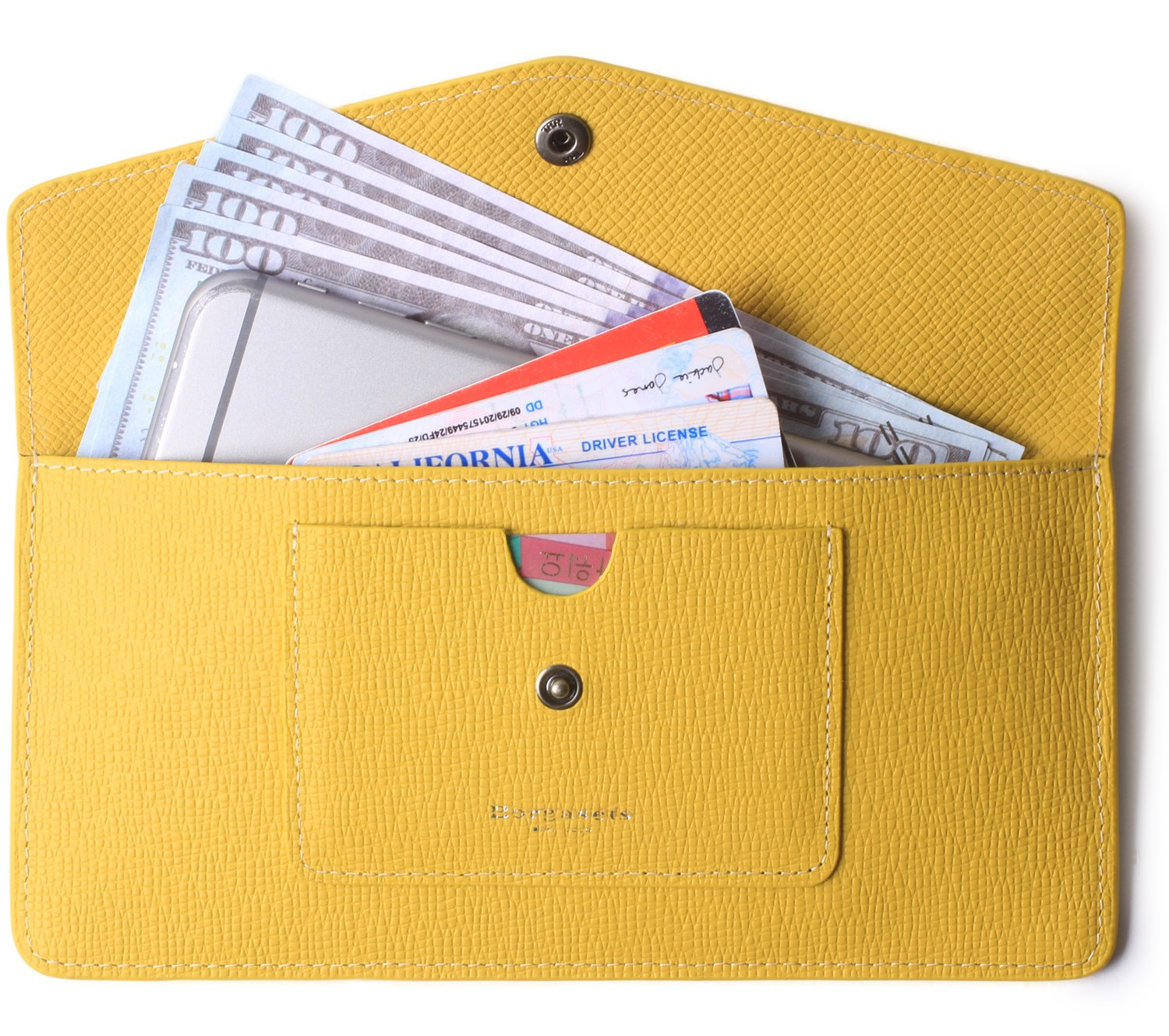 Women's Wallet Leather RFID Ultra-thin Envelope Ladies Purse Travel Clutch (Crosshatch Yellow)
