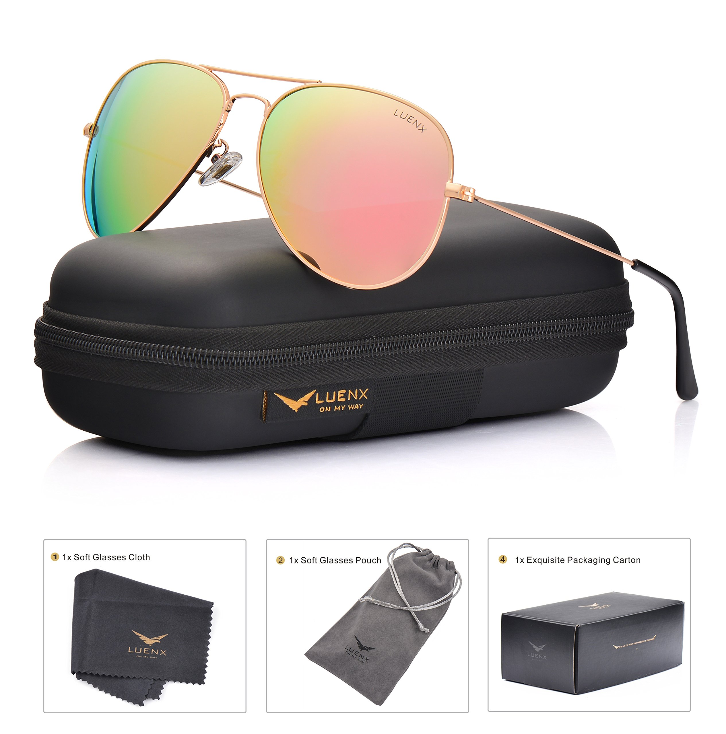 LUENX Aviator Womens Mens Sunglasses Polarized Pink Mirrored Lenses Gold Frame UV 400 Protection Classic Style