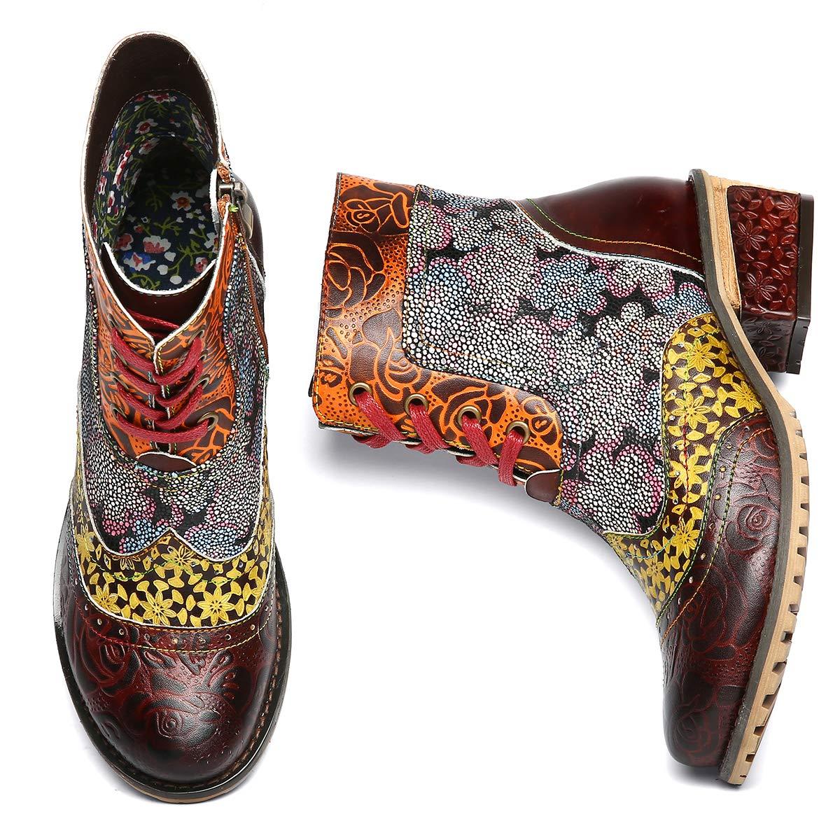 67262cffc936ce Camfosy Bottines Cuir Femme Plates, Chaussures Ville Hiver à Talons Plats  Boots Bottes à Lacets avec ...