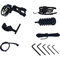 Homend Archery Accessory Combo, 5 Pin Bow Sight with Level and Light, Arrow Rest, Stabilizer, Sling, Peep