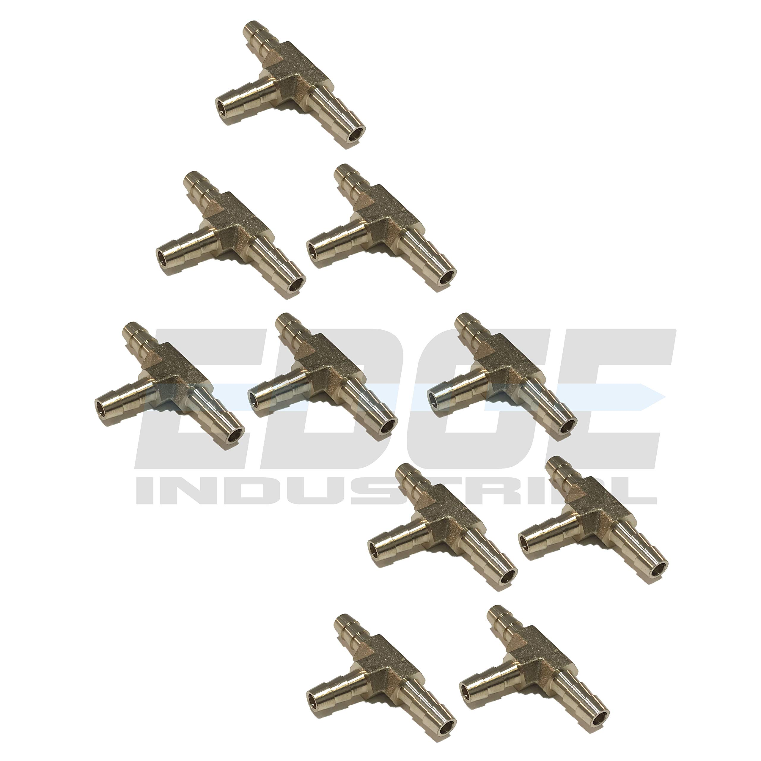 EDGE INDUSTRIAL 1/4'' Hose ID Brass Hose Barb TEE SPLICER Fitting Fuel / AIR / Water / Oil / Gas / WOG (Qty 10)