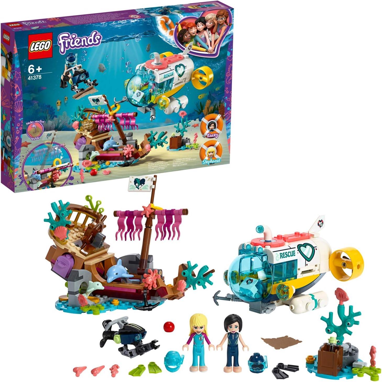 LEGO Friends - Misión de Rescate: Delfines Nuevo set de construcción de juguete de Barco Hundido y Robot Submarino Busca Tesoros (41378): Amazon.es: Juguetes y juegos