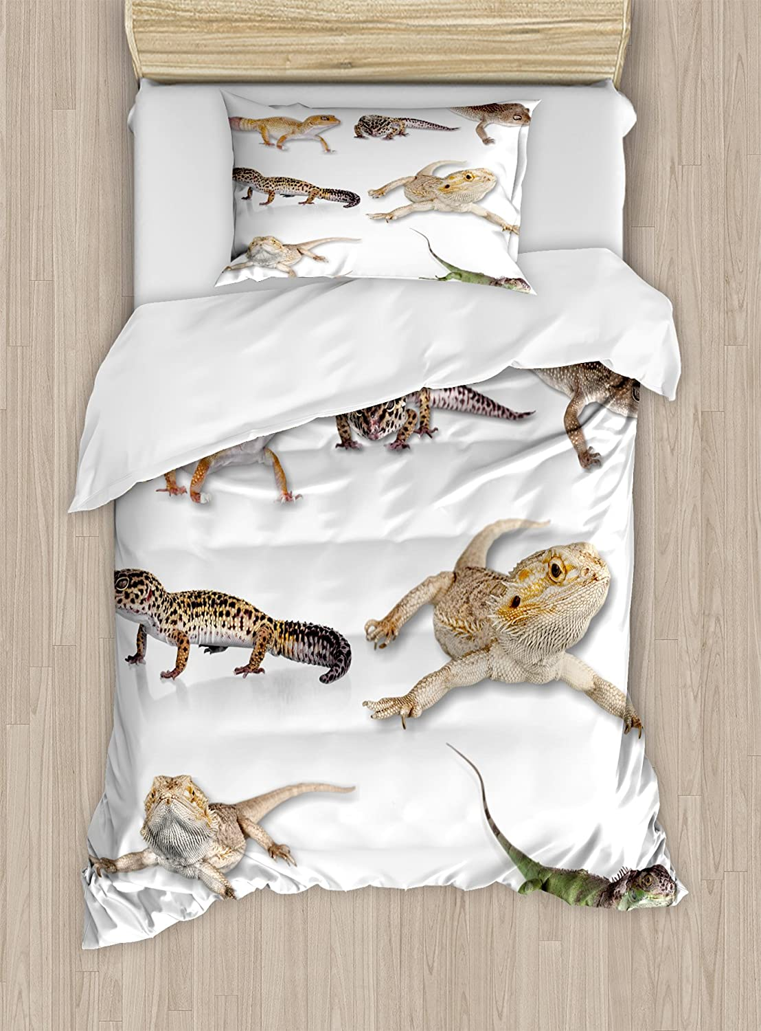 Ambesonne Reptile Duvet Cover Set, Colorful Staring Leopard Gecko Family Image Primitive Reptiles Wildlife Art Print, Decorative 2 Piece Bedding Set with 1 Pillow Sham, Twin Size, Beige White
