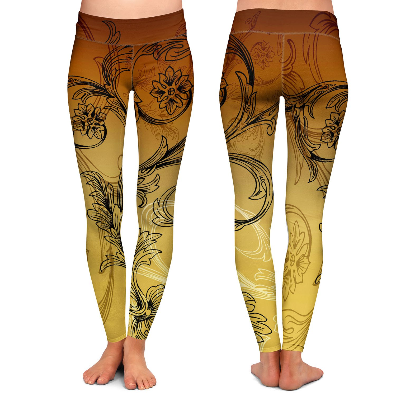Athletic Yoga Leggings from DiaNoche Designs by Angelina Vick Coffee Flowers 3 Calypso