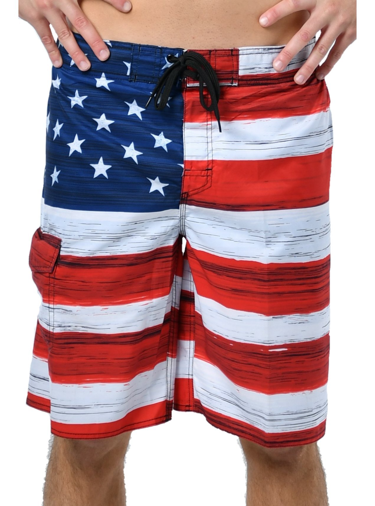 VbrandeD Men's American Flag Inspired Board Shorts Red XL