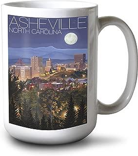 product image for Lantern Press Asheville, North Carolina - Skyline at Night (15oz White Ceramic Mug)