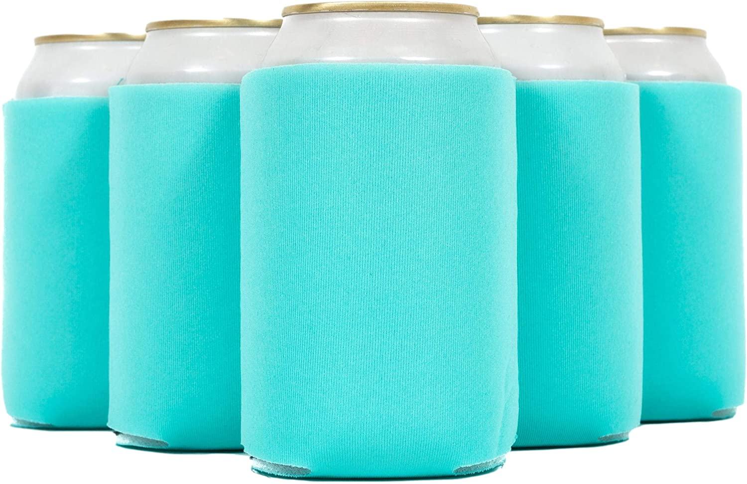QualityPerfection 12 Beer Blank Can Cooler Sleeve, Coolies Sublimation HTV Insulated, Collapsible For DIY Customizable, Favors, Parties, Events or Weddings(12, Robin Egg Blue): Kitchen & Dining