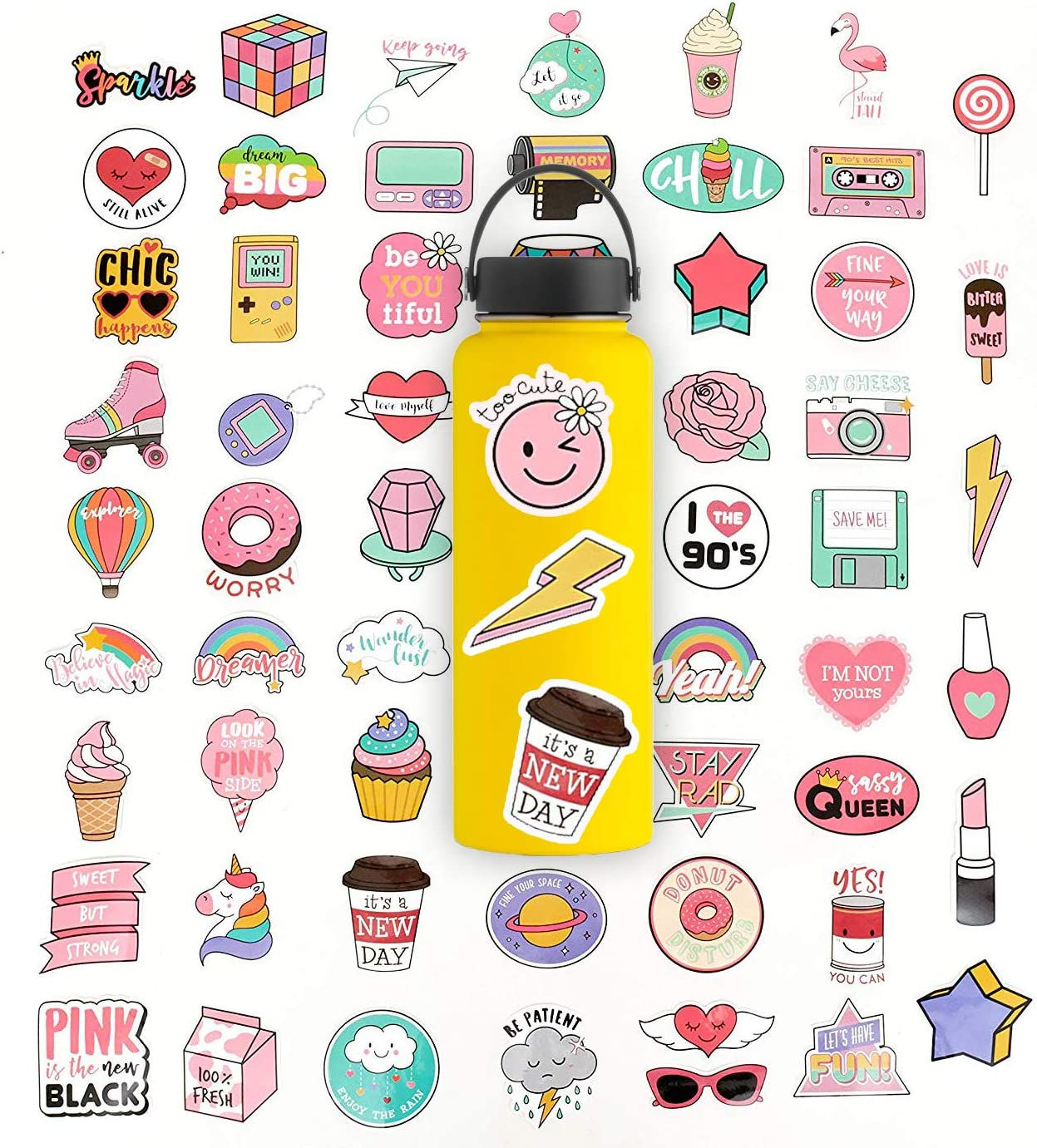 Stickers for Water Bottles, Cute Waterproof Vinyl Stickers for Teens and Girls, | 60 Pack | Unique Aesthetic Durable Decal Stickers, Cool and Trendy Stickers Perfect for Laptop, Hydro Flask, Phone