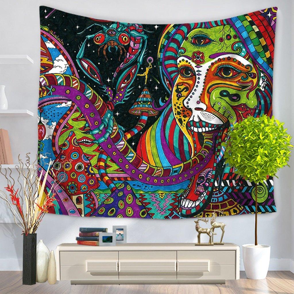 ZfgG Psychédélique Indien Mandala Bohème Tapisserie Coloré Abstrait Trippy Tatouage Style Tenture Murale Décor Jet Plage Couverture pour Chambre Salon Décor (Couleur : A, Taille : 150 * 130 cm)
