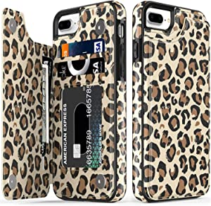 LETO iPhone 8 Plus Case,iPhone 7 Plus Case,Flip Folio Leather Wallet Case Cover with Flower Designs for Girls Women,Card Slots,Protective Phone Case for iPhone 7 Plus/iPhone 8 Plus Brown Leopard