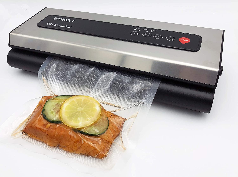 Vacu Standard - Envasadora al vacío para alimentos VacuNo.1 – Vacu Standard – Sous Vide – Dispositivo de soldadura con láminas y manguera