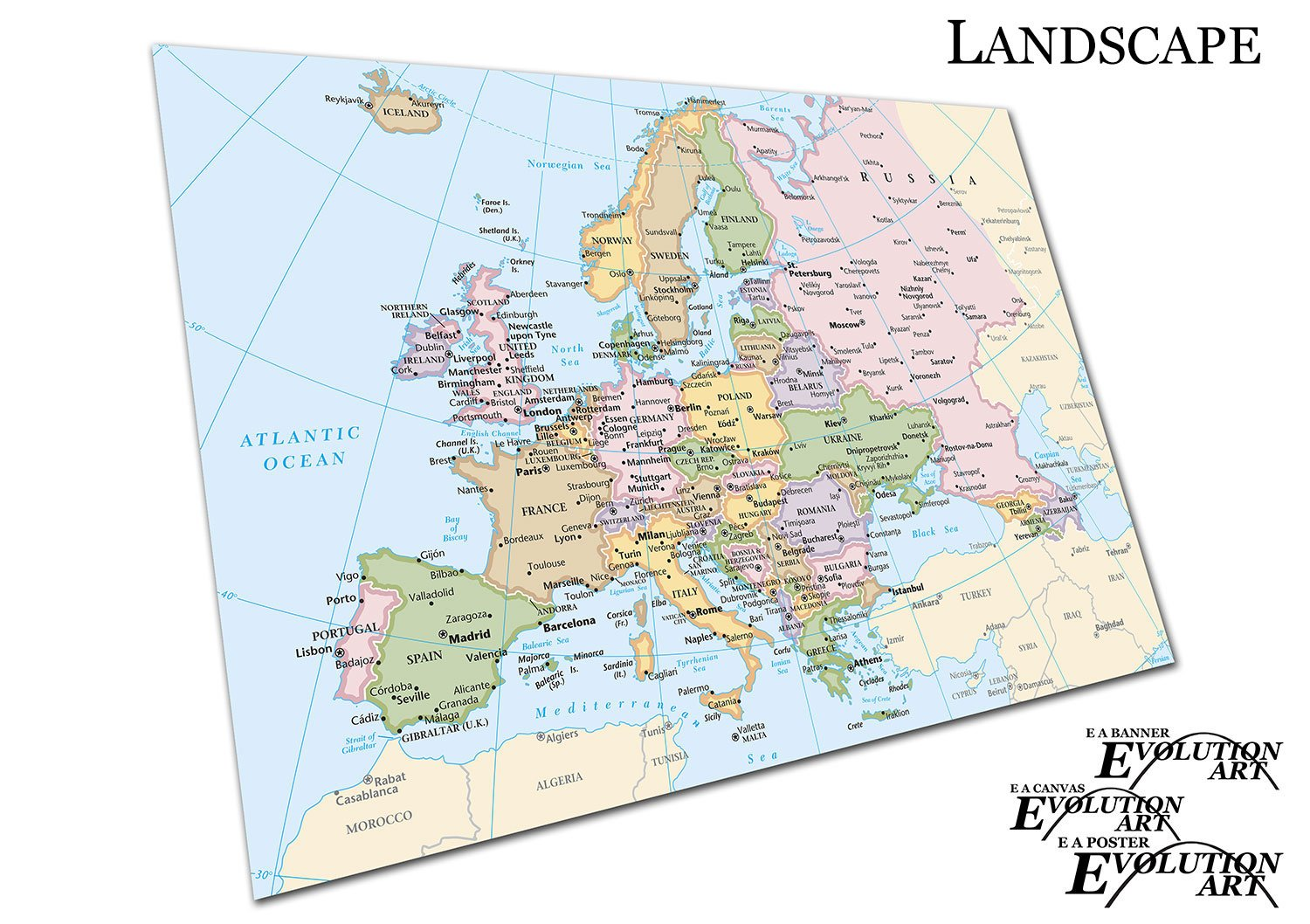 EAPoster Poster Print Map of Europe cities Countries Size=A3