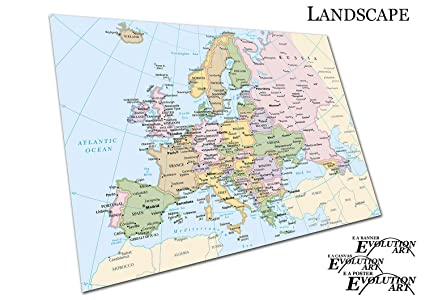 photo about Printable Maps of Europe named EAPoster Poster Print Map of Europe towns Nations Sizing\u003dA2