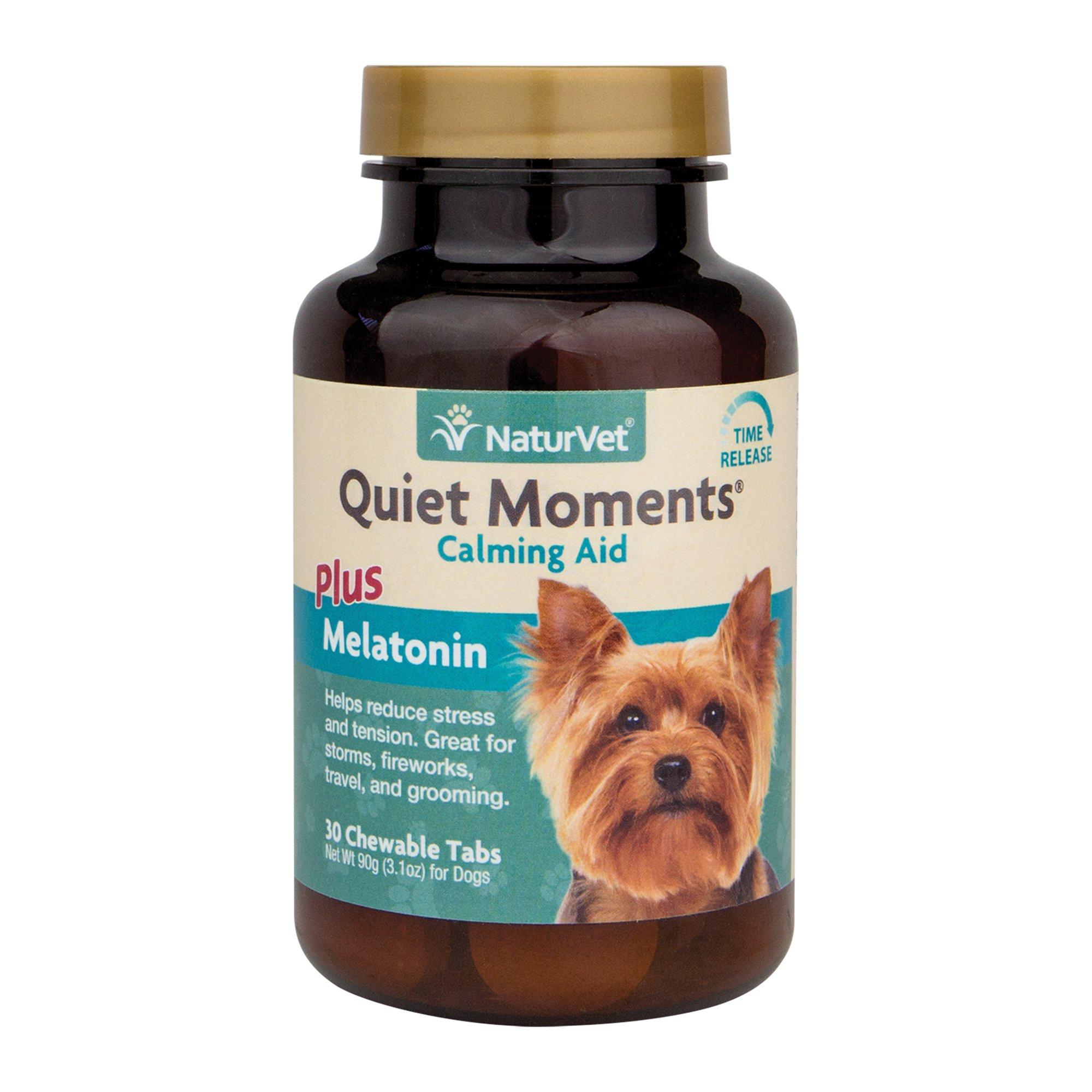 NaturVet Quiet Moments Calming Aid Plus Melatonin for Dogs Chewable Tablets M