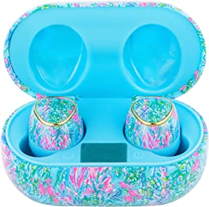 Lilly Pulitzer Bluetooth Earbuds with Protective Charging Case, Wireless Headphones for Phones/Tablets/Laptops, Best Fishes