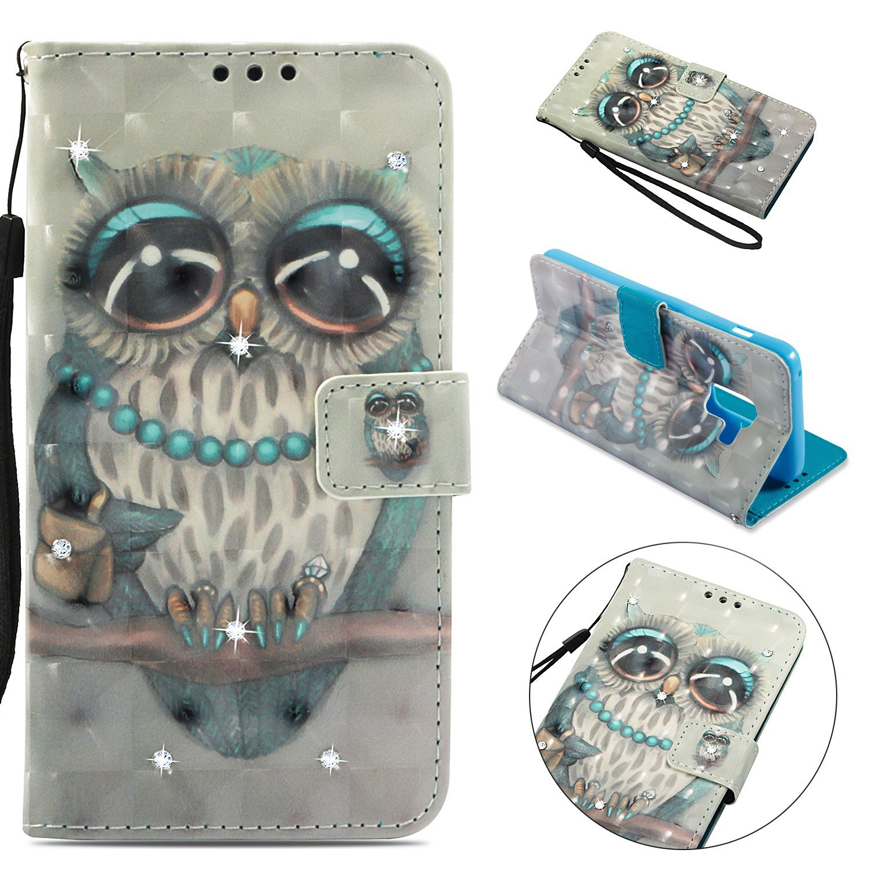 Samsung Galaxy A5 (2018) Case, Samsung Galaxy A8 (2018) Leather Case, Cozy Hut 3D Design Premium Luxury Diamond Bling Glitter PU Folio Leather Wallet Case with Samsung Galaxy A5 (2018) [Book Case] [Mirror Case] [Wallet Case] [Flip Case] [Smart Case] [Stand