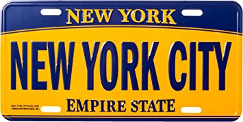 Artisan Owl I Love New York Empire State Blue and Gold Souvenir License Plate