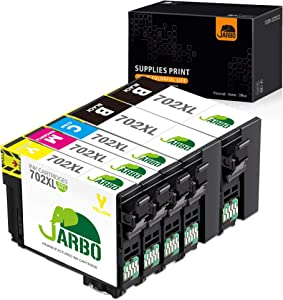 JARBO Remanufactured Ink Cartridge Replacement for Epson 702 702XL T702 T702XL Use with Workforce Pro WF-3720 WF-3733 WF-3730 All-in-One Printer, 5 Pack (2 Black, 1 Cyan, 1 Magenta, 1 Yellow)