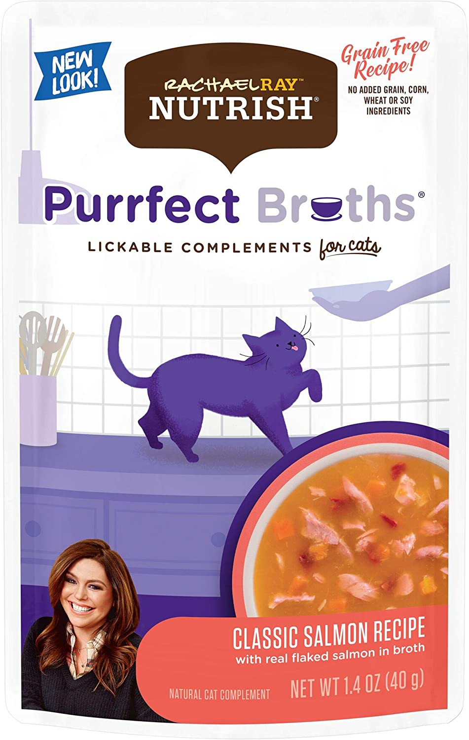 Rachael Ray Nutrish Purrfect Broths Natural Wet Cat Food, Classic Salmon Recipe with Flaked Salmon & Veggies, 1.4 Ounce Pouch (Pack of 24), Grain Free (Packaging May Vary)
