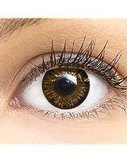 Dunkelbraune Farbige Kontaktlinsen Choco Dunkelbraun Sehr Stark Deckende SILIKON COMFORT NEUHEIT von GLAMLENS + Behälter - 1 Paar (2 Stück) - DIA 14.50 - Mit Stärke -3.00 Dioptrien