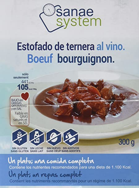 Menú Sanae Estofado de Ternera Al Vino Tinto - 4 Paquetes de 300 gr - Total