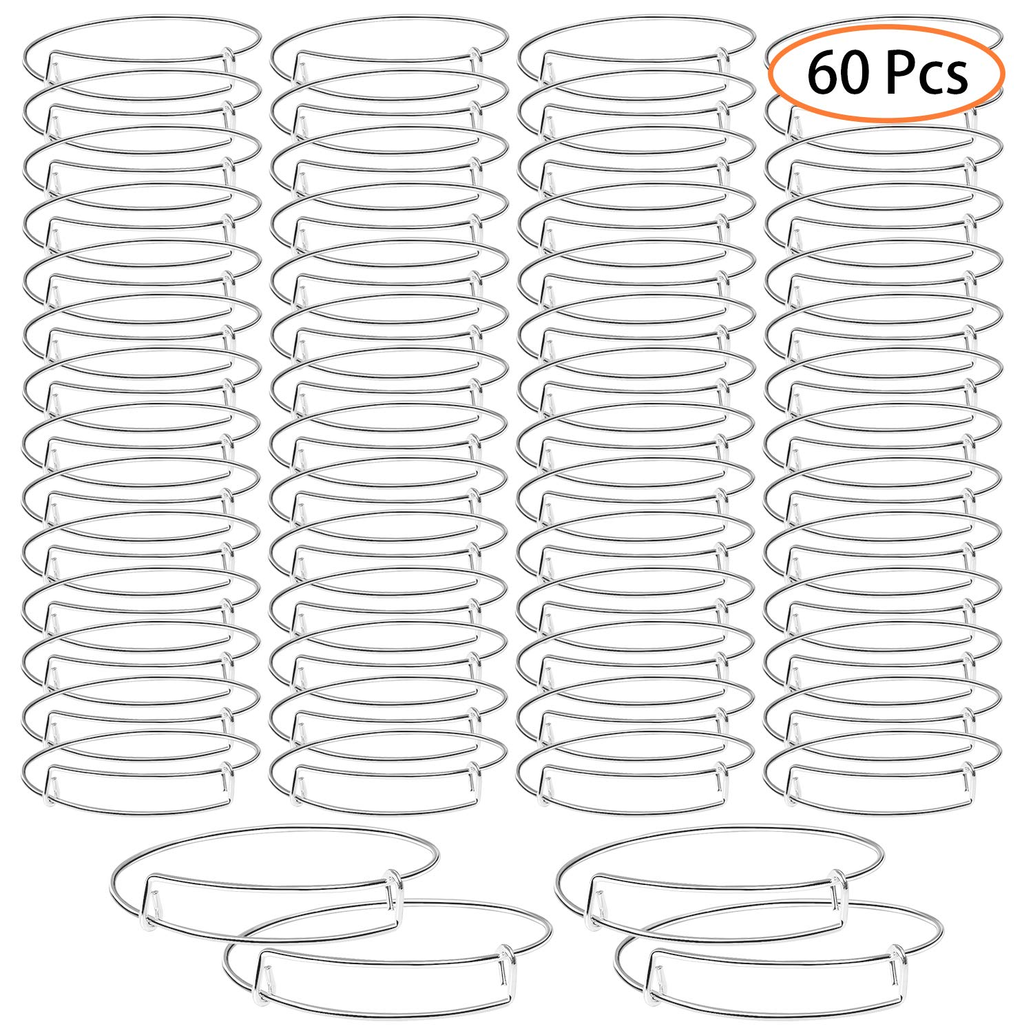 UPINS 60 Pieces Expandable Bangle Bracelets Adjustable Wire Blank Bracelets for Women DIY Jewelry Making, Silver by UPINS