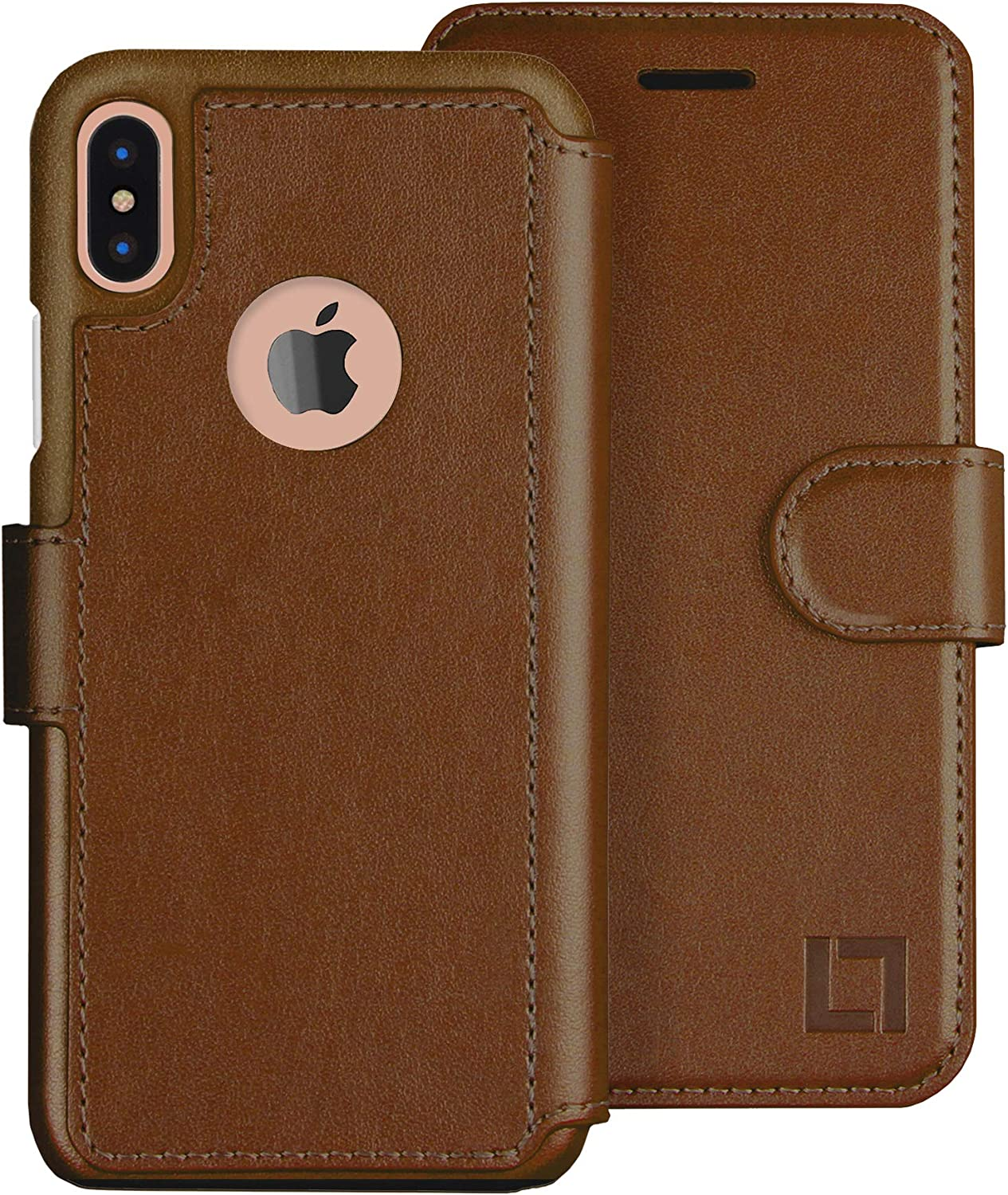 LUPA iPhone X Case with Card Holder -Slim & Lightweight iPhone X Wallet Case - for Women & Men - Faux Leather - iPhone Xs Cases with Magnetic Closure– Light Brown (5.8 Inch Diagonal Screen Size)