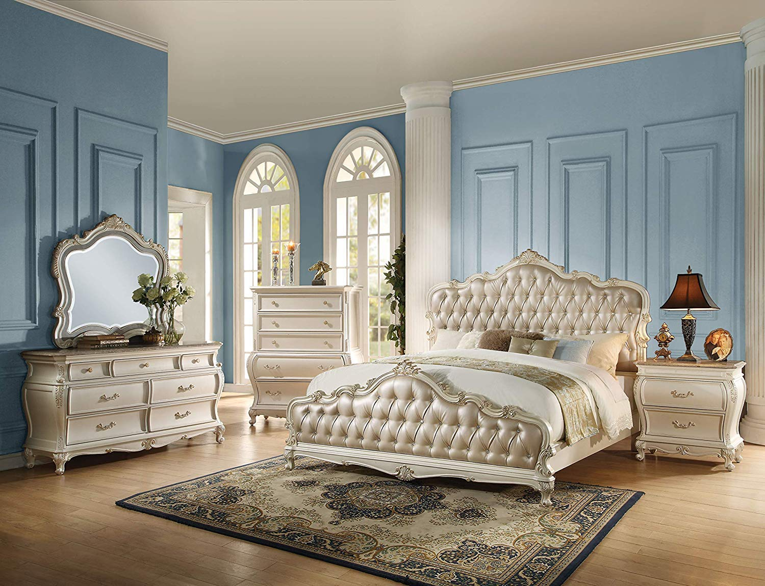. ACME Chantelle Rose Gold and Pearl White Eastern King Bed