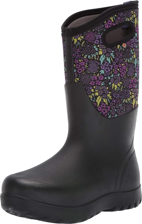BOGS Women's Tall Nw Neo-Classic Mid Waterproof Rain Boot, Garden Print-Black Multi, 7 M