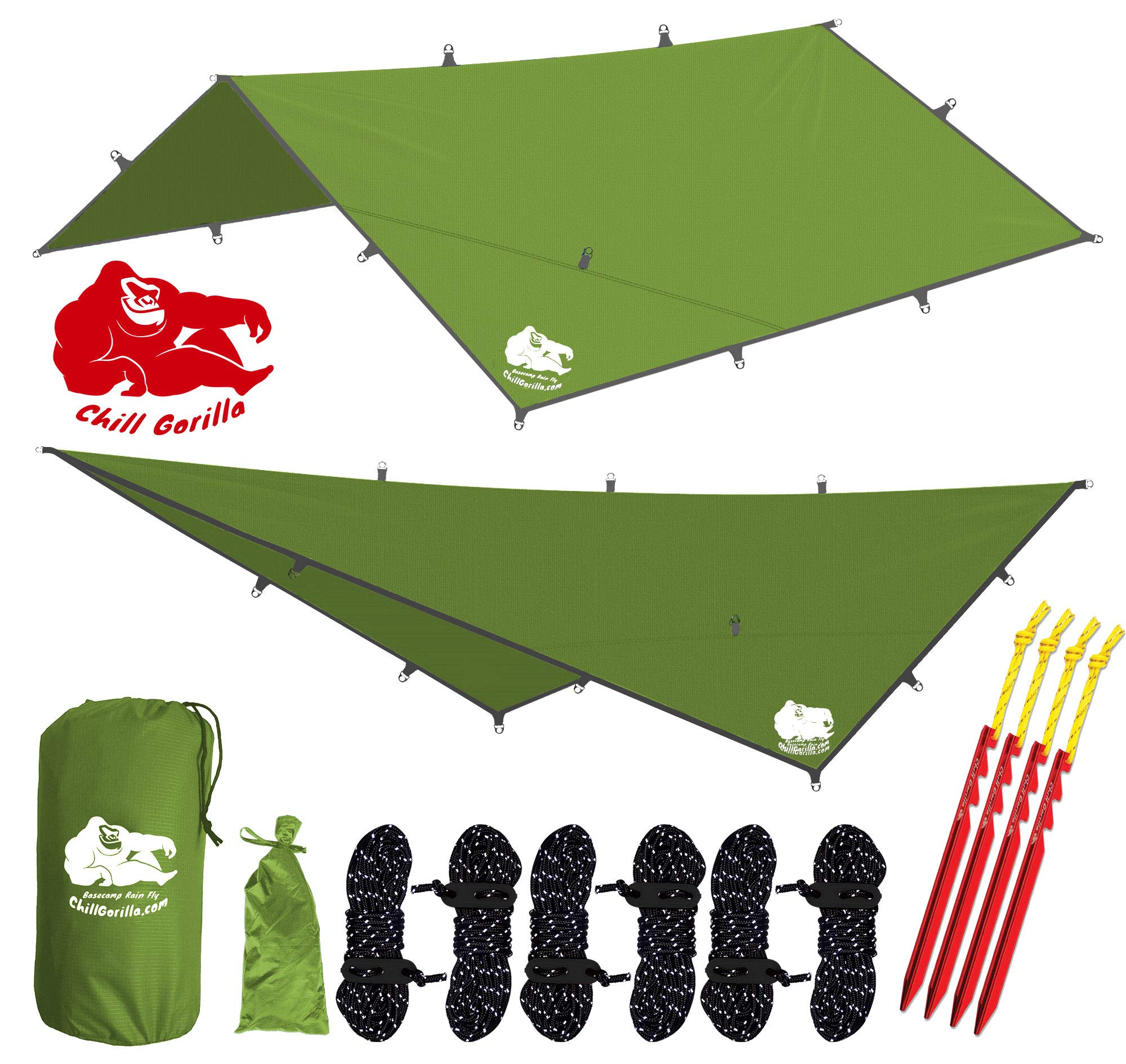 Chill Gorilla 12x12 Hammock Rain Fly Camping Tarp. Ripstop Nylon. 203'' Centerline. Stakes, Ropes & Tensioners Included. Camping Gear & Accessories. Perfect Hammock Tent. Green by Chill Gorilla
