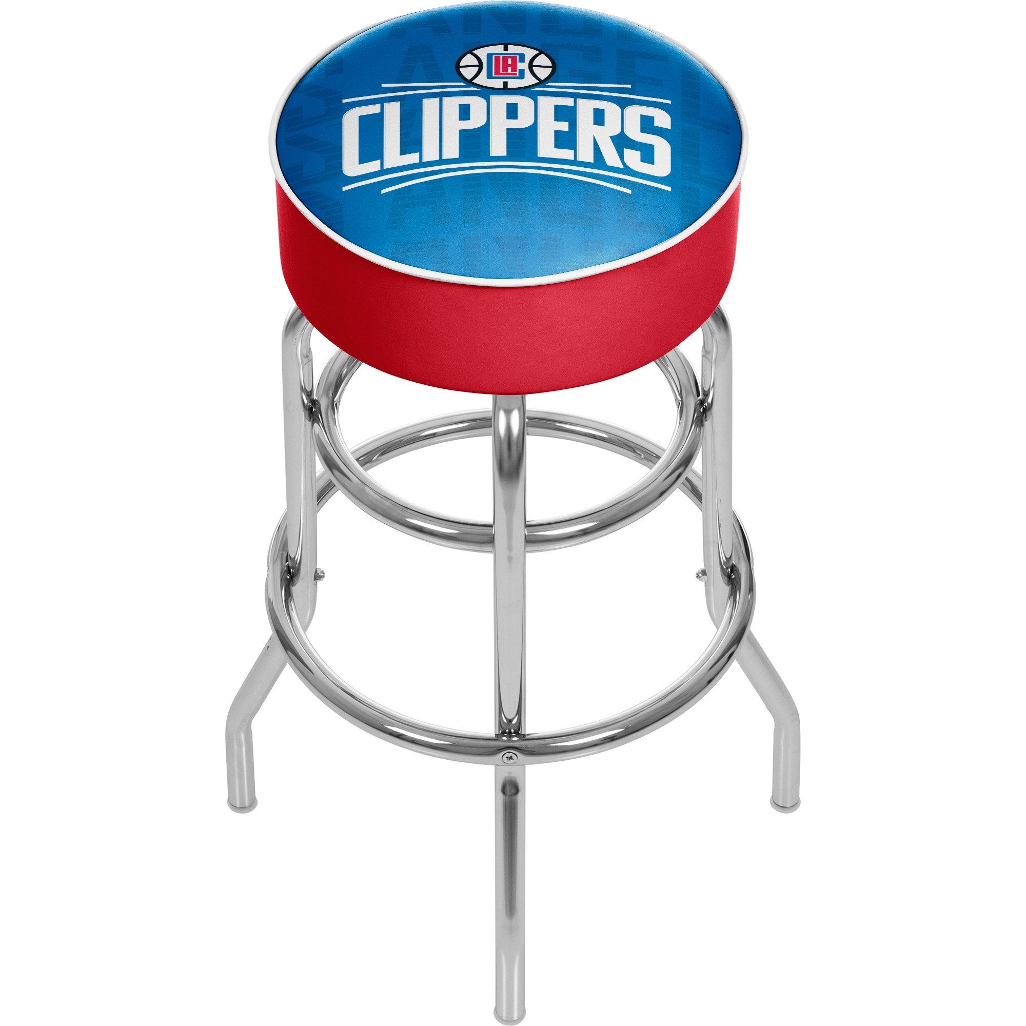 Trademark Gameroom NBA1000-LAC3 NBA Padded Swivel bar Stool - City - Los Angeles Clippers