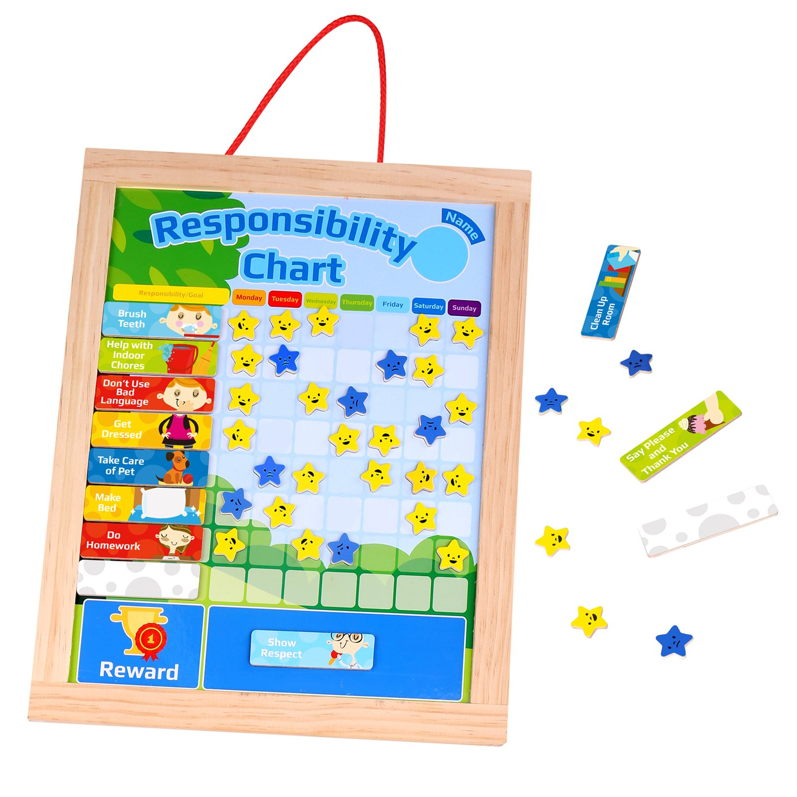 Timy Wooden Rewards Chore Chart Responsibility and Behavior Star Chart Daily Magnetic Calendar for Kids