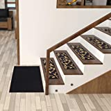 "Ottomanson Ottohome Collection Stair Tread, 8.5"" X 26"" Pack of 7, Black Floral"