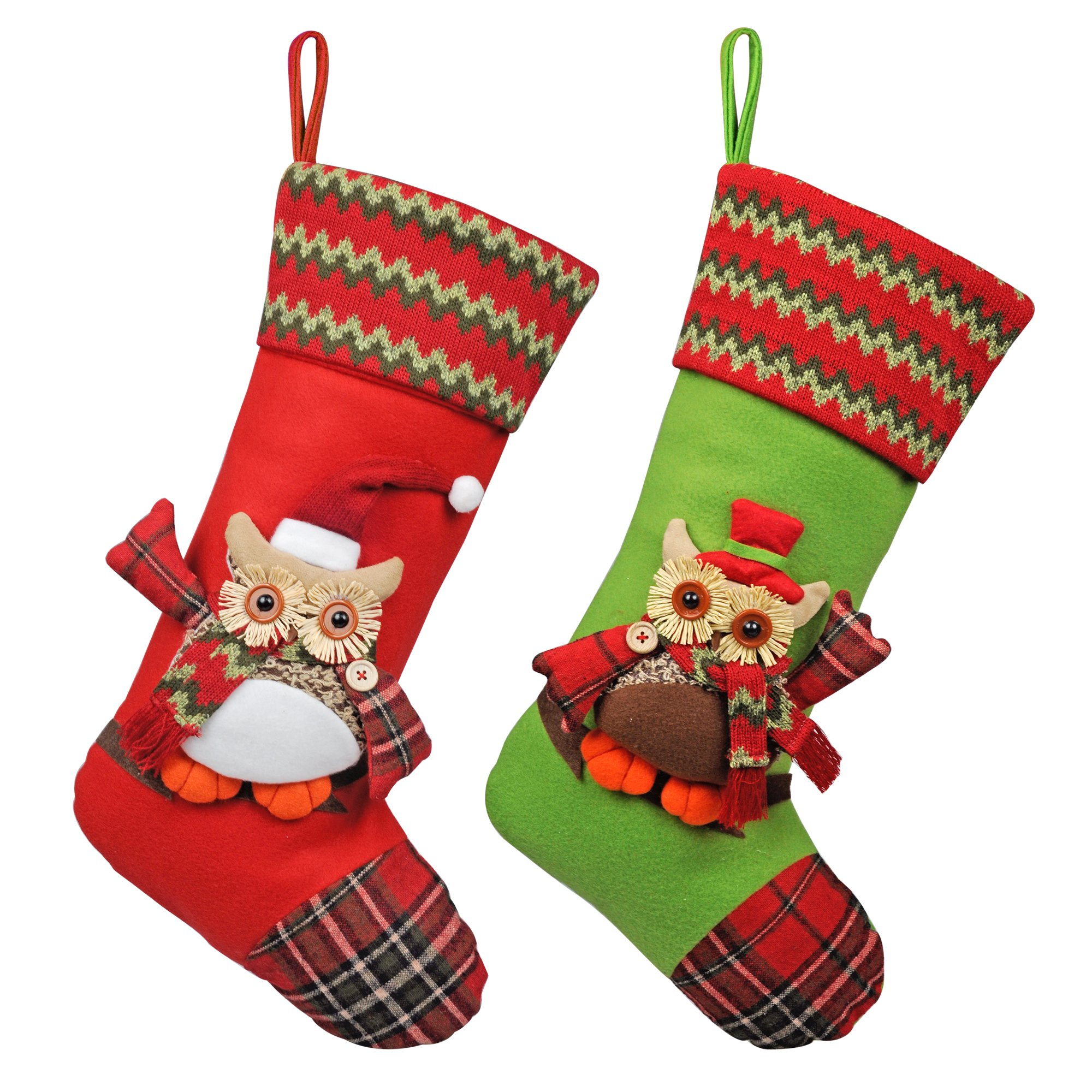 """KI Store Christmas Stockings Set of 2 Rustic Large Goody Gift Bags Ornaments for Kids 19"""" Classic Xmas 3D Mr Owl Large Size Decorations Decor"""
