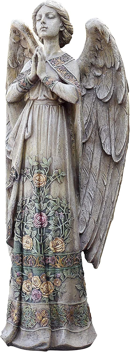 Roman Joseph's Studio Rose Praying Angel Statue, 24H, Garden Collection, Resin and Stone, Decorative, Religious, Home Outdoor and Indoor Decor, Durable, Long Lasting