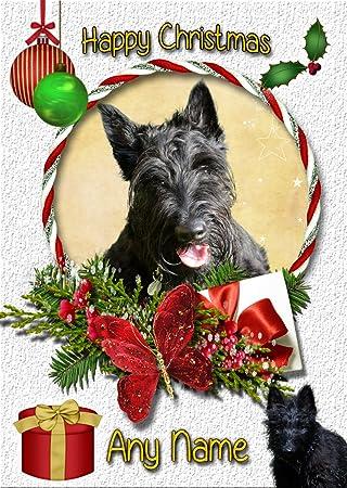 Felicitacion Navidad Personalizada Fotos.Tarjeta De Navidad Terrier Escoces Scottie Personalizada