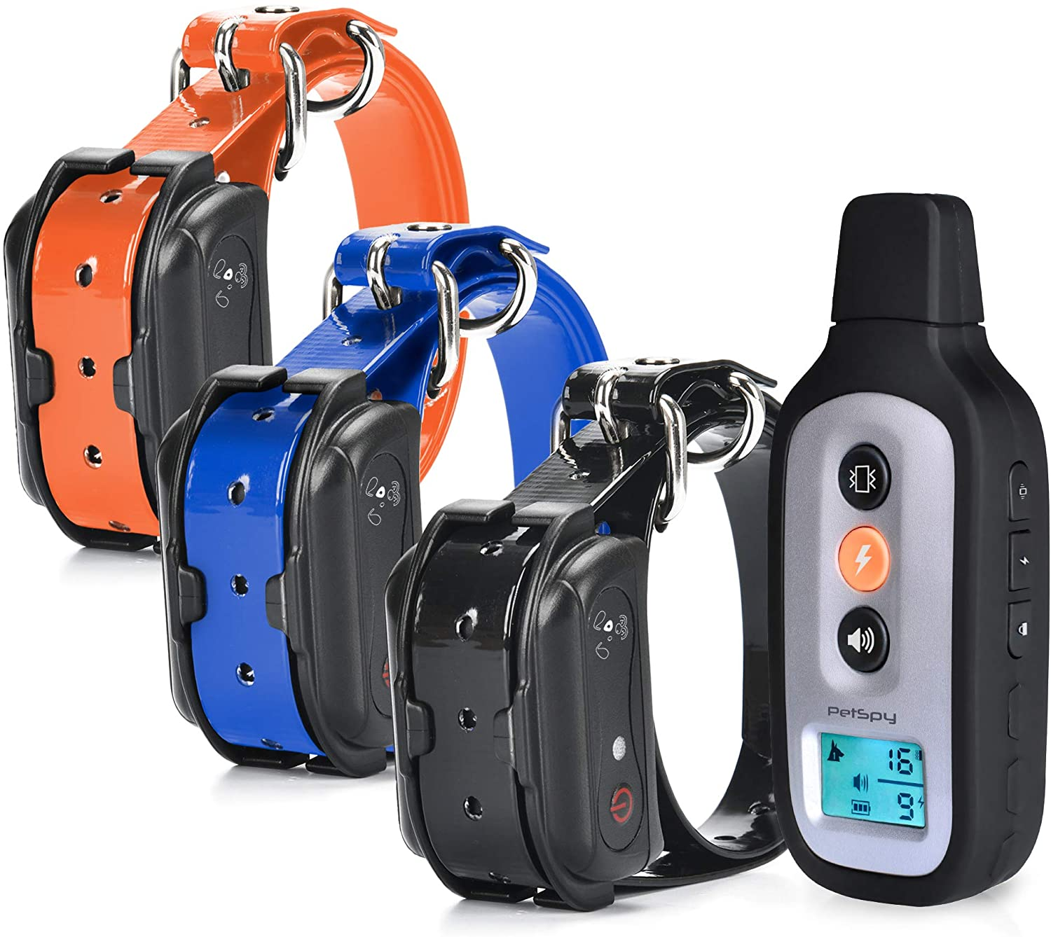 PetSpy XPro 3 Dog Training Shock Collar for Three Dogs with Remote, Fully Waterproof Vibration and Beep Electric Trainer, Small to Large Dogs