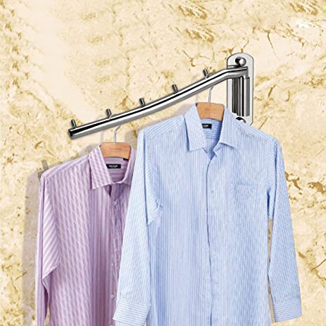 Clothes Hanger Rack Holder,Ulifestar Folding Wall Mounted Coat Hooks  Stainless Steel Garment Rack Clothing