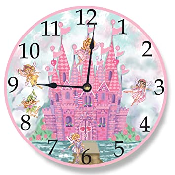stupell home dcor pink castle wall clock 12 x 04 x 12 proudly made